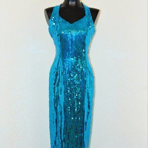 Vintage 1980s Aqua Sequined Gown by Nadine sz 7/8